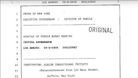 Luz Arroyo parole board transcript 9-12-06