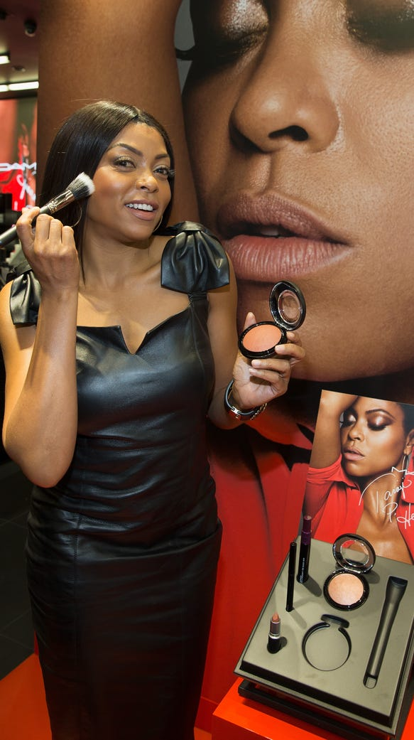 Taraji P. Henson poses with her MAC products in Chicago