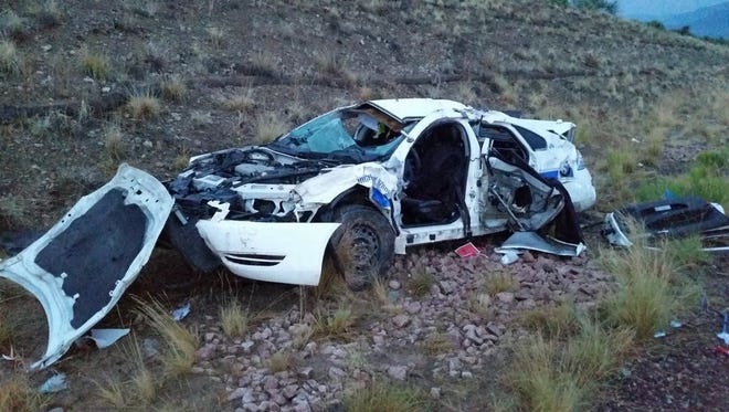 A Department of Public Safety officer was seriously injured in a rollover crash south of Payson Monday evening.