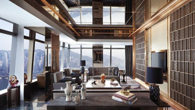 For the ultimate suite-in-the-sky experience, they stay in the expansive Ritz-Carlton Suite on the 117th floor with gorgeous 270-degree panoramic views of Victoria Harbour and Hong Kong Island