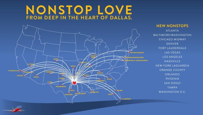 A Southwest Airlines route map promoting its new long routes from Dallas Love Field.