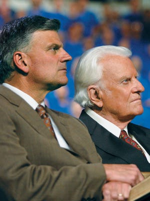 Franklin Graham, left, the son of the late Rev. Billy Graham, wraps up his Decision America California Tour on June 5.