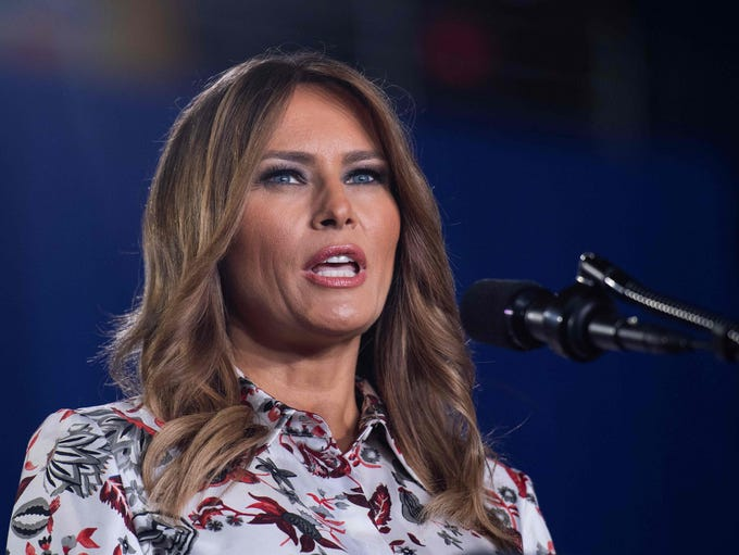 First lady Melania Trump delivers remarks to the Venezuelan