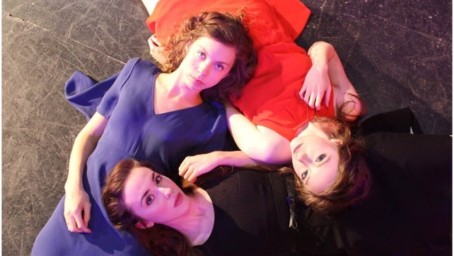 "Clockwise from front, Maggie Alger, Danielle Peck and Shannon Hurst in Little Door Theatre's production of ""Three Sisters."""