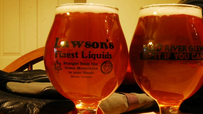 Two servings of an offering from Warren-based Lawson's Finest Liquid deck a restaurant table.