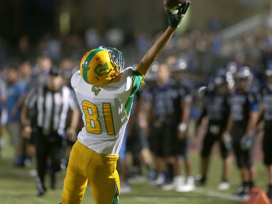 Coachella Valley receiver Moises Amador can't quite haul in this pass against Cathedral City, August 26, 2016.