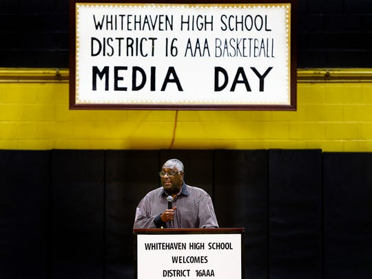 Legendary junior college basketball coach Verties Sails speaks during the first annual District 16 AAA basketball media day at Whitehaven High School on Wednesday, Nov. 9, 2016.