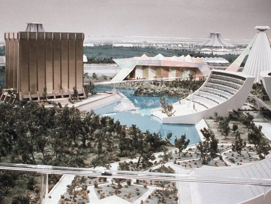 "Miniature city used in 1976's ""Logan's Run"" with model"