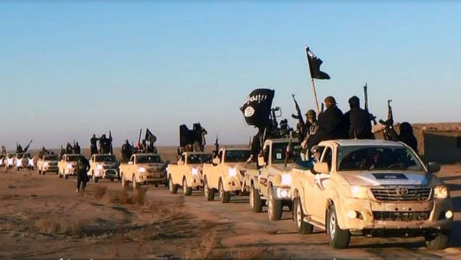 A convoy with lots of Toyota trucks filled with ISIS fighters is seen on a militant network.