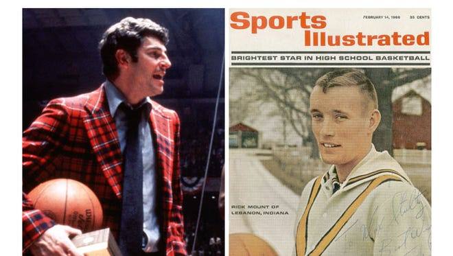 Bob Knight after IU won the national championship in 1975 and Rick Mount on the cover of Sports Illustrated in 1966.
