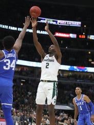 Michigan State's Jaren Jackson Jr. scores against Duke's