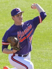Clemson senior pitcher Pat Krall (36) pitches to Elon during the top of the second inning on Saturday at Doug Kingsmore Stadium in Clemson.