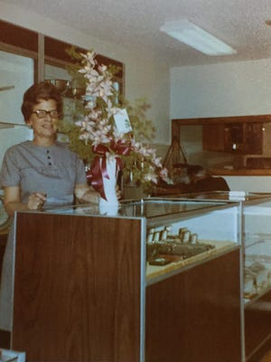 Doris Sorenson behind the counter at Sorenson Jewelers in this undated photo.