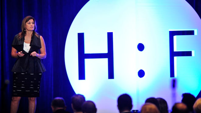 Dawn Rudolph, the CEO of Saint Thomas Health speaks during the Health:Further conference Thursday morning at the Omni Hotel in downtown Nashville, Tenn. August 20, 2015.