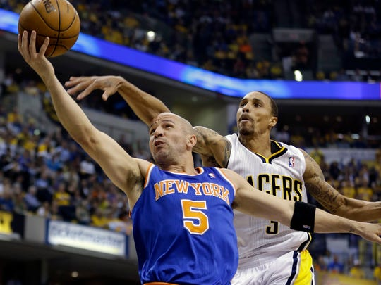 Knicks' Jason Kidd (5) shoots past Pacers' George Hill during Game 4 of the 2013 Eastern Conference semifinal series in Indianapolis.