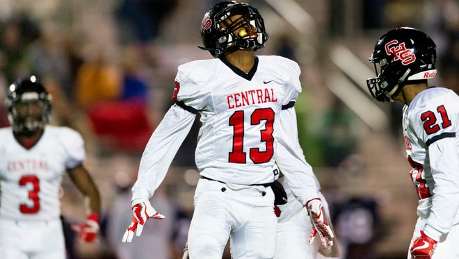 Central's Demetrian Johnson celebrates after a play against South-Doyle on Friday.