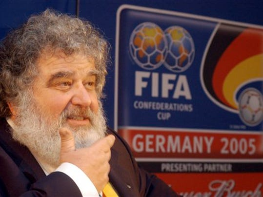 FILE - In this Feb. 14, 2005 file photo, Confederation of North, Central American and Caribbean Association Football (CONCACAF)  Secretary General  Chuck Blazer as he attends a news conference in Frankfurt, Germany.
