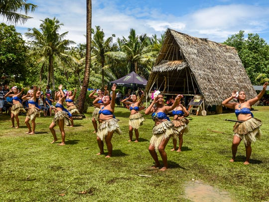 Chamoru cultural dancers perform at the Valley of the Latte River Festival in Talofofo in this file photo. There's free admission from Nov. 9-11 for veterans and active military personnel.