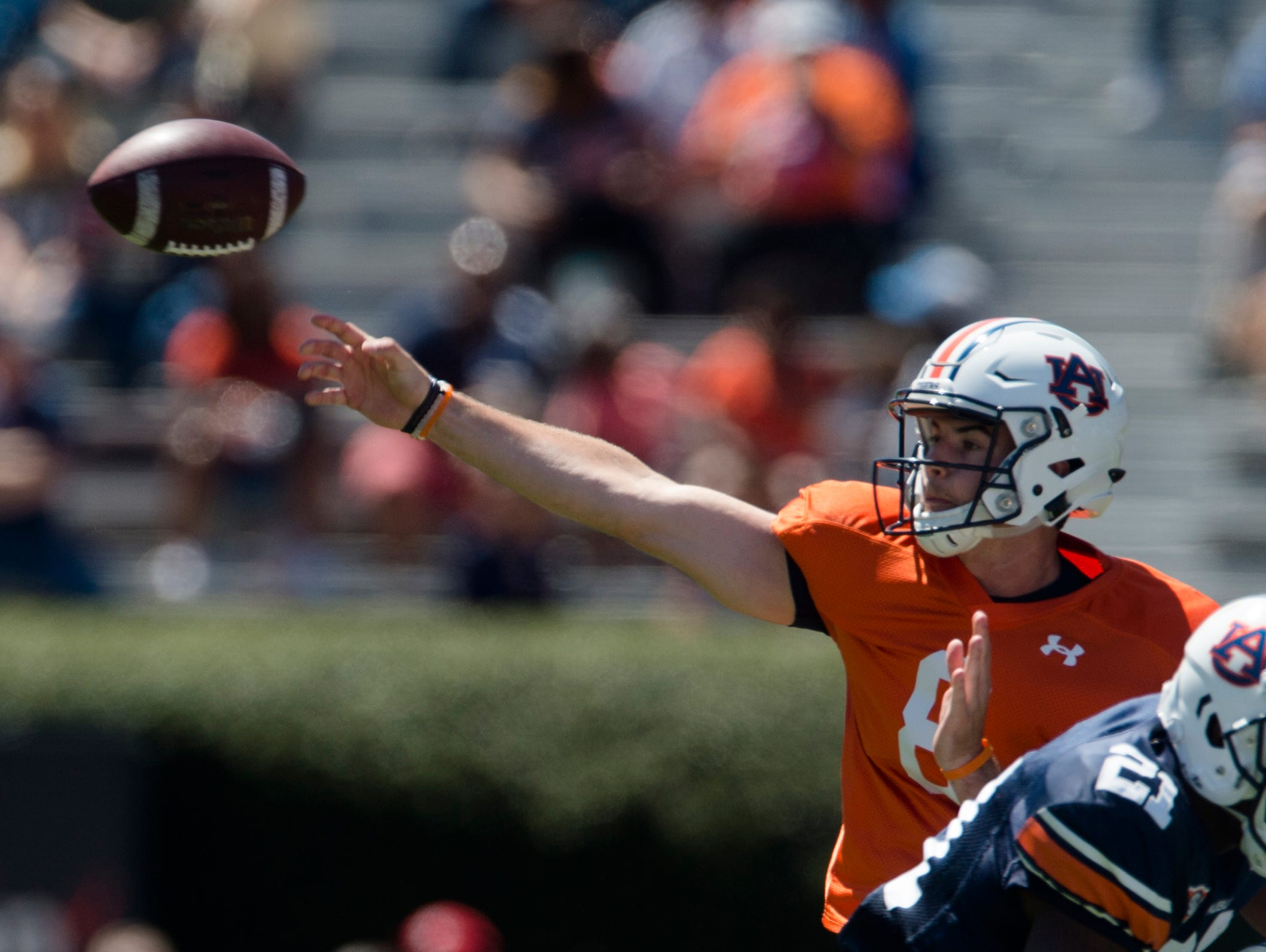 Auburn quarterback Jarrett Stidham (8) throws a pass during Auburn's A-Day on Saturday, April 8, 2017, at Jordan Hare Stadium in Auburn, Ala.