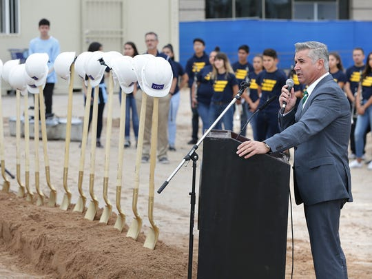 YISD Superintendent Xavier De La Torre speaks at the groundbreaking ceremony at Eastwood High School.
