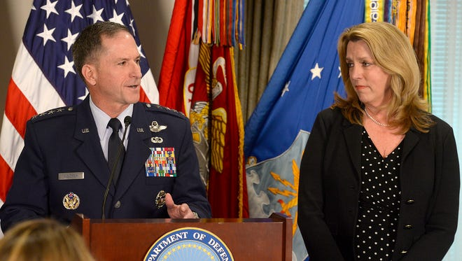 Air Force Vice Chief of Staff Gen. David L. Goldfein thanks Air Force Secretary Deborah Lee James during the Defense Department's announcement of his nomination as the Air Force's 21st chief of staff at the Pentagon in Washington, D.C., April 29.