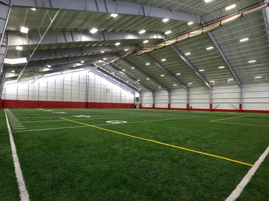 A 50-yard football field is part of Hamilton High School's indoor athletic center, which opened in 2015.