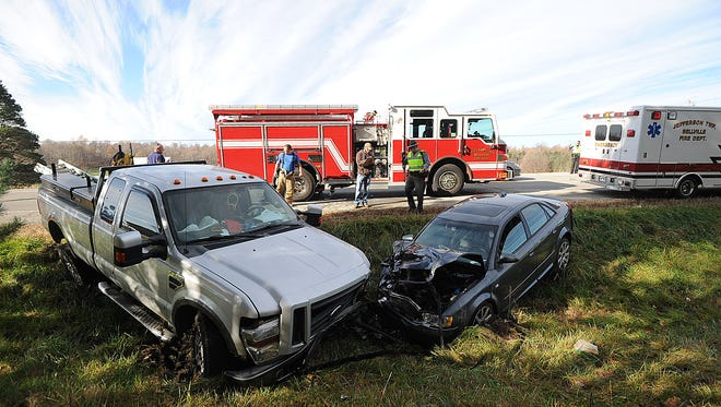 No serious injuries resulted Monday morning following a head-on crash on Ohio 13 south of Spayde Road near Bellville. Jason J. Molyet/News Journal