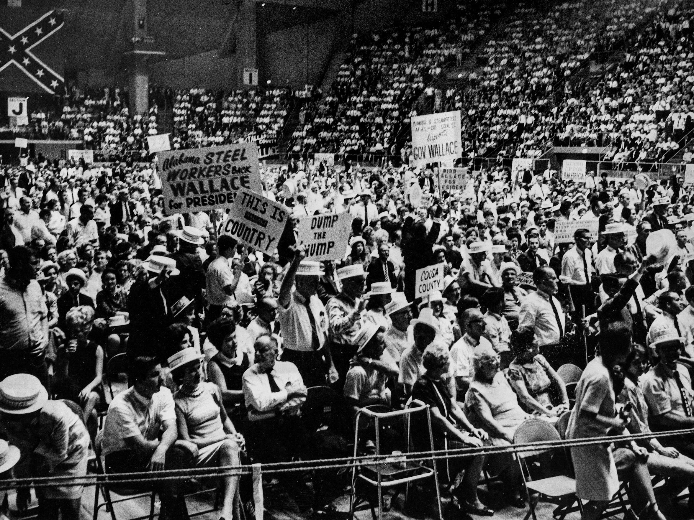 A rally for presidential candidate George Wallace at Garrett Coliseum in Montgomery, Ala. in September 1968.