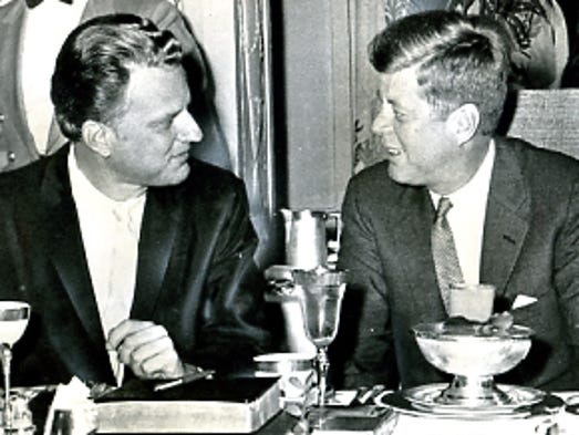 Billy Graham with President John F. Kennedy.