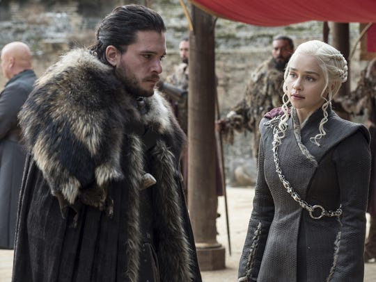This image released by HBO shows Kit Harington, left,