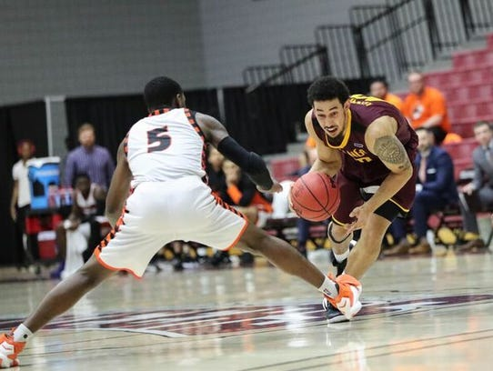 Trey Kennedy dribbles the ball during Midwestern State's