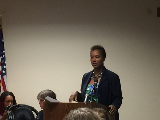 Wisconsin State Senator Lena Taylor speaks to Tosa Together Public Forum, Oct. 5, 2016.