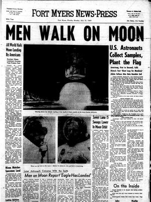 The front page from July 21, 1969 reporting the historic moon landing was voted most important by readers