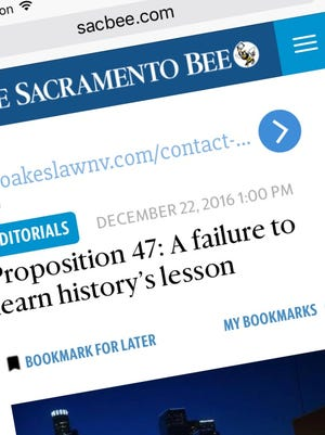 """The Sacramento Bee Editorial Board weighs in on the """"Freed but Forgotten"""" series and Proposition 47's shortcomings on www.sacbee.com."""