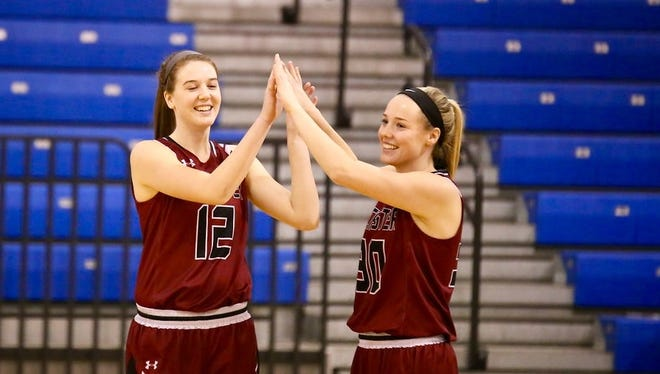 Devan Valko and Madison Valko during a game for Rochester College.