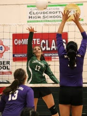 Cloudcroft's Jasmine Recinos hits a ball over Mescalero's