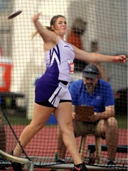 Irion County's Macy McNutt throws the discus in the Class 2A girls discus during the UIL State Track and Field Championships on Friday, May 12, 2017, at Mike A. Myers Stadium in Austin.