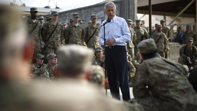 U.S. Secretary of Defense Chuck Hagel speaks to members of the 101st Airborne Airborne Division at Jalalabad Airfield in eastern Afghanistan on Saturday, March 9, 2013.