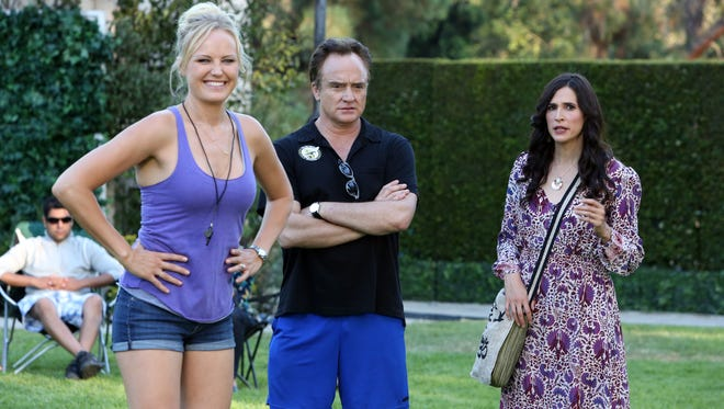 In 'Trophy Wife,' Pete (Bradley Whitford) is caught between current wife Kate (Malin Akerman, left) and his two ex-wives, including Jackie (Michaela Watkins).