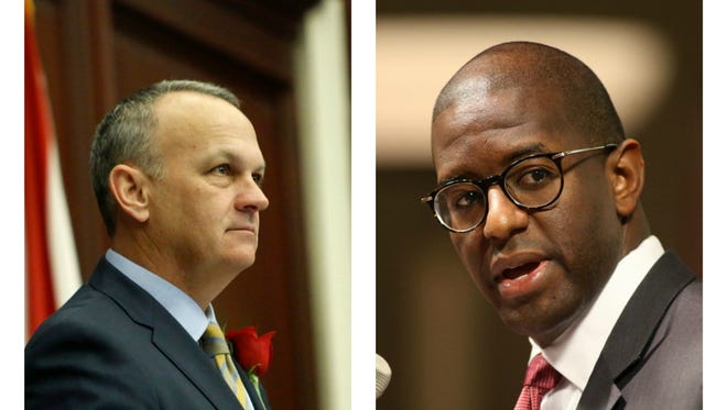 Florida House Speaker Richard Corcoran (left) and Tallahassee Mayor and gubernatorial candidate Andrew Gillum.