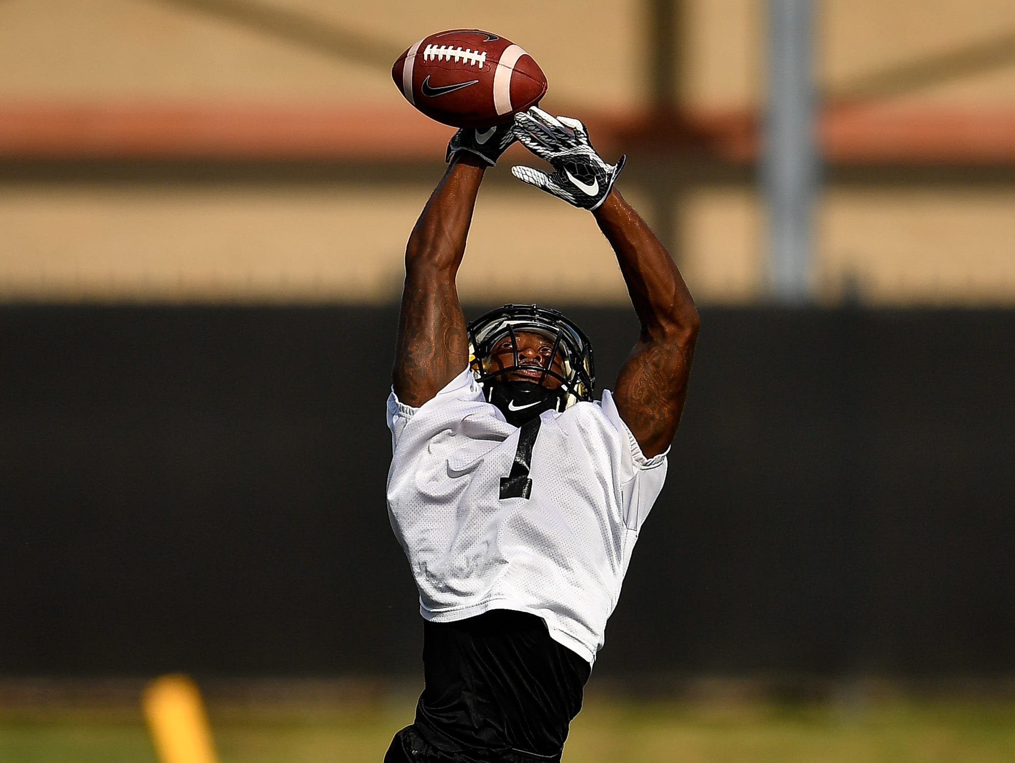Vanderbilt running back Ralph Webb makes a catch during the first practice of preseason camp Monday, July 31, 2017.