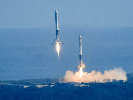 Zw e Booster from SpaceX Falcon Heavy Rocket Land