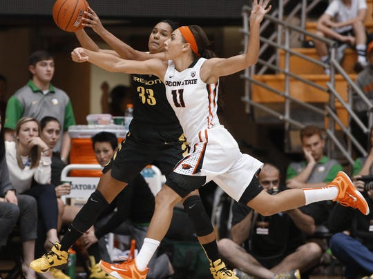 Oregon State's Gabriella Hanson (11) tries to steal the ball from Oregon's Lexi Petersen during the second half of an NCAA college basketball game in Corvallis, Ore., on Friday, Jan. 8, 2016. Oregon State won 60-33. (AP Photo/Timothy J. Gonzalez)