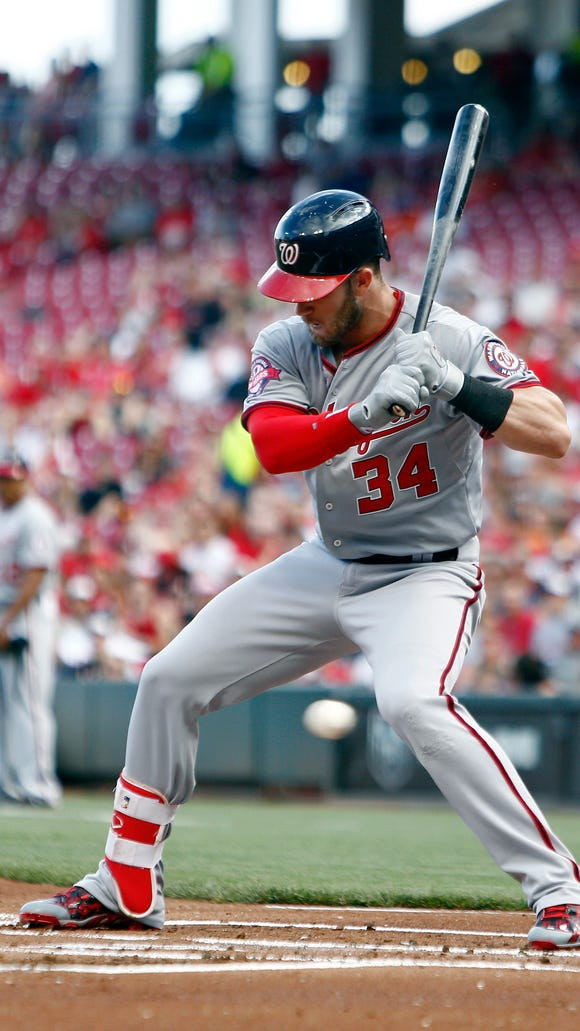 Nationals right fielder Bryce Harper watches a pitch in the first inning.