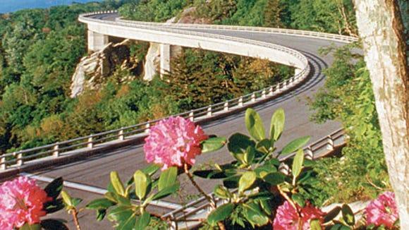 The Linn Cove Viaduct swings around Grandfather Mountain on the Blue Ridge Parkway.