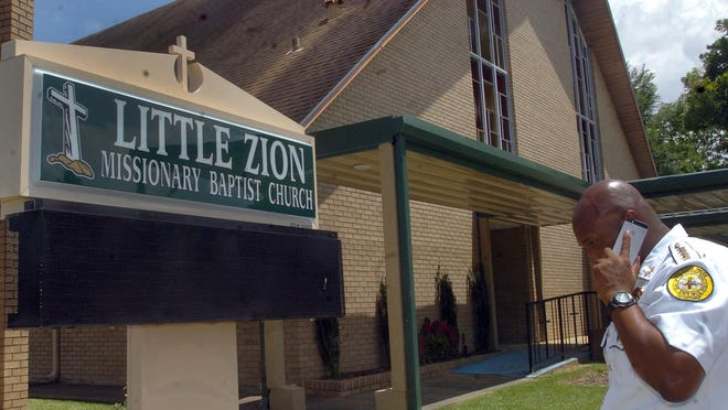 Opelousas Police Chief Donald Thompson arrives at Little Zion Baptist Church following a break-in that occurred Late Monday night.