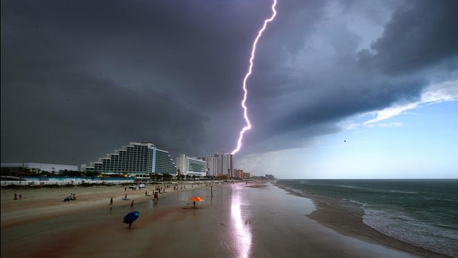Mother Nature provided the fireworks over Daytona Beach on Friday, July 3, 2020, as thunderstorms, lightning and rain moved through the area. The weekend holiday forecast calls for more of the same.