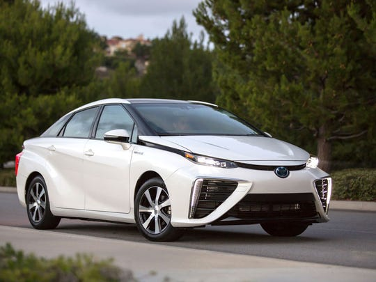 Toyota Mirai – On sale now in tiny numbers and only in California, it can carry enough hydrogen to cover 312 miles, according to the EPA.