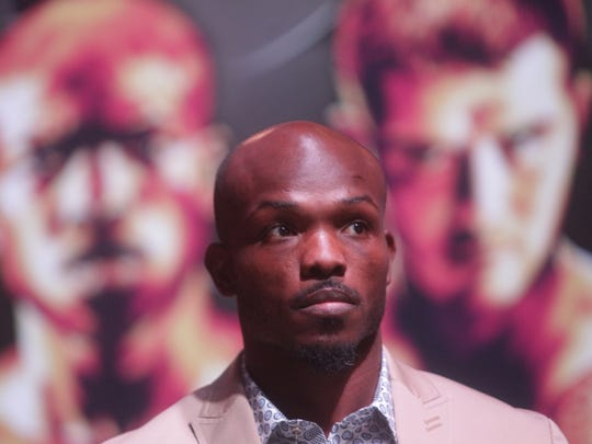 WBO Welterweight Champion Timothy Bradley Jr. enters the Wynn Theater in Las Vegas for the final press conference with Brandon Rios on November 5, 2015. The fighters will meet at the Thomas and Mack Center in Las Vegas on November 7, 2015.