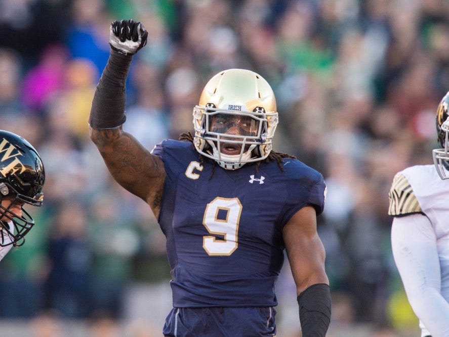Notre Dame linebacker Jaylon Smith won the Butkus Award.